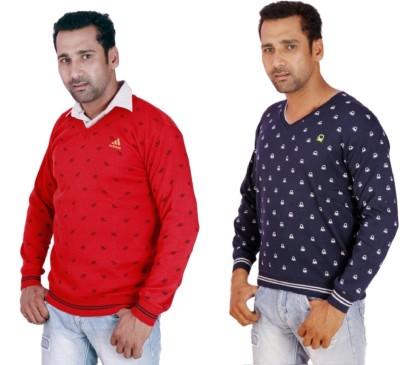 KRG Fashion V-neck Solid, Printed Men's Pullover