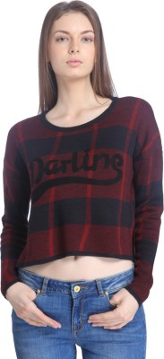 Only Round Neck Checkered Women's Pullover at flipkart