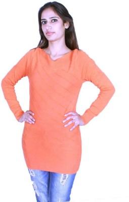 GnC Self Design Round Neck Casual Women's Orange Sweater