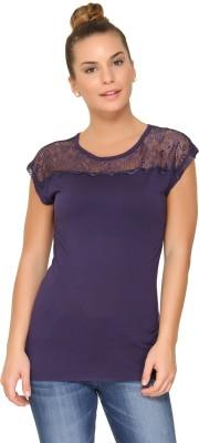Amari West By INMARK Casual Cap sleeve Solid Women's Dark Blue Top