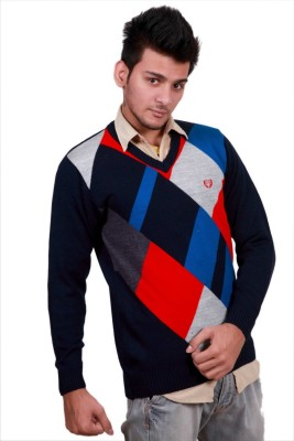 Leebonee V-neck Geometric Print Mens Pullover