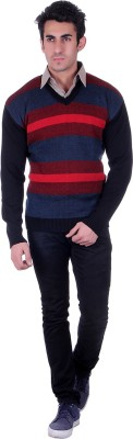 D.V. Saharan & Sons V-neck Striped Men's Pullover