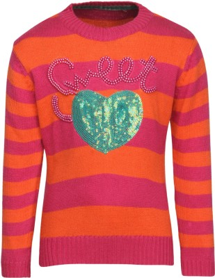 Wingsfield Round Neck Embellished Girl's Pullover