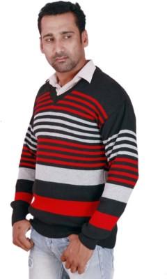 Krg Fashion V-neck Striped Men's Pullover