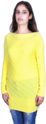 GnC Self Design Round Neck Casual Women's Yellow Sweater