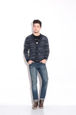 Coffee Bean V-neck Self Design Men's Pullover