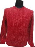 BK Black V-neck Printed Men's Pullover