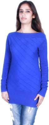 GnC Self Design Round Neck Casual Women's Blue Sweater