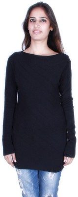 GnC Self Design Round Neck Casual Women's Black Sweater