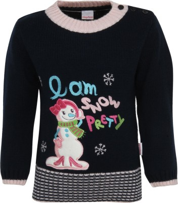 Wingsfield Round Neck Applique Baby Girl's Pullover