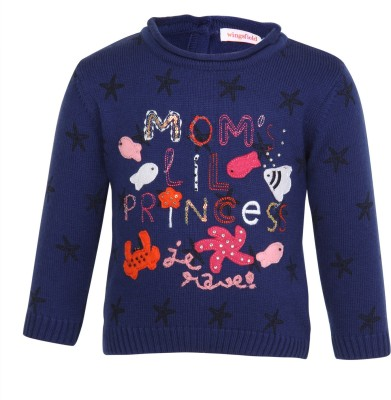 Wingsfield Round Neck Embellished Baby Girl's Pullover