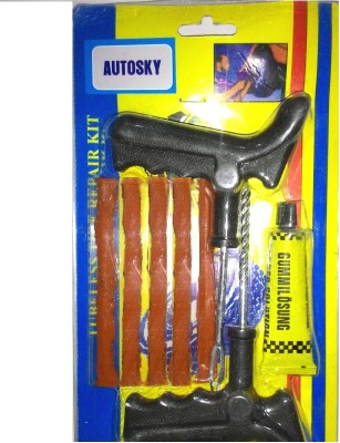 Autosky PK-02 With Pasting Solution and 5 Strips Tubeless Tyre Puncture Repair Kit