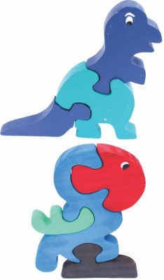 Enigmatic Woodworks Wooden Jigsaw Puzzle Dinosaur + Parrot