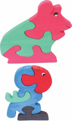Enigmatic Woodworks Wooden Jigsaw Puzzle Frog + Parrot