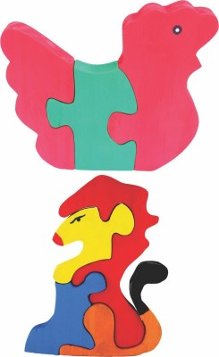 Enigmatic Woodworks Wooden Jigsaw Puzzle Hen + Lion