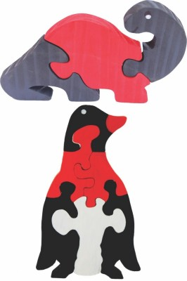 Enigmatic Woodworks Wooden Jigsaw Puzzle Dinosaur (CN) + Penguin