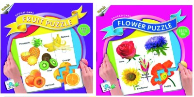 Ratnas Pack Of 2-Educational Fruit & Flower Puzzle