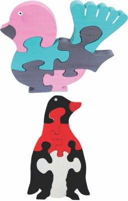 Enigmatic Woodworks Wooden Jigsaw Puzzle Feather Bird + Penguin