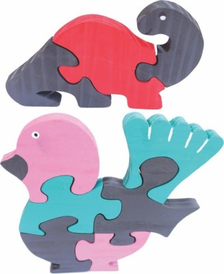 Enigmatic Woodworks Wooden Jigsaw Puzzle Dinosaur (CN) + Feather Bird