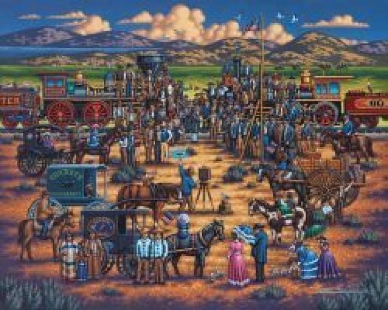 Dowdle Folk Art Puzzle - Golden Spike 500 Pc