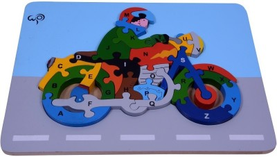 wood o plast Motorcycle Raised Puzzle With A-Z Alphabet