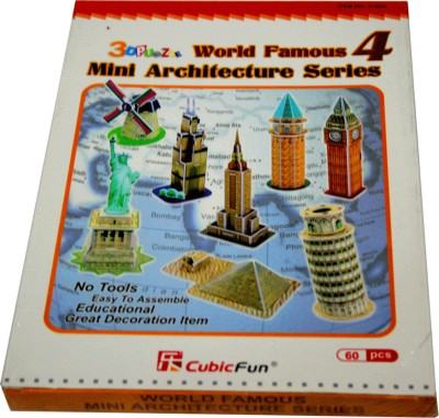 Adraxx Junior Educational 3D Board 60 Pcs Multiple World Famous Monuments 4 Modeling Kit