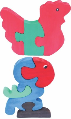 Enigmatic Woodworks Wooden Jigsaw Puzzle Hen + Parrot