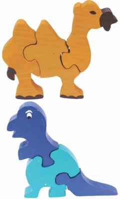 Enigmatic Woodworks Wooden Jigsaw Puzzle Camel + Dinosaur