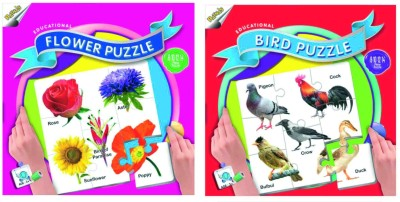 Ratnas Pack Of 2- Educational Flower &Bird Puzzle