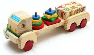 Luk Luck Educational Wooden Toy Pulling Alphabet Shape Truck