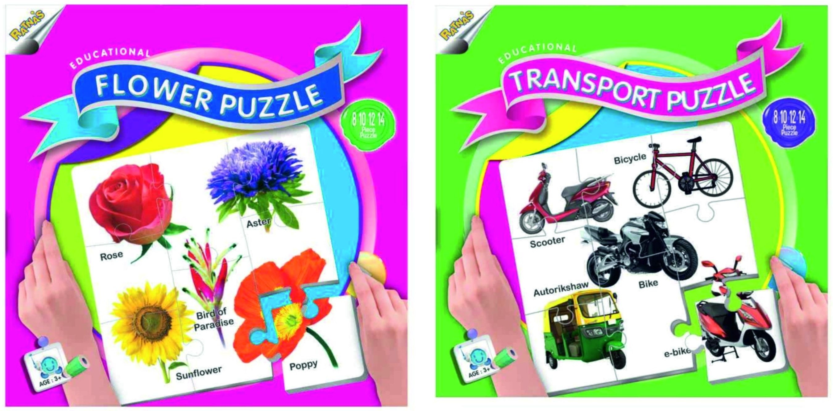 Ratnas Pack Of 2 -Educational Flower & Transport Puzzle
