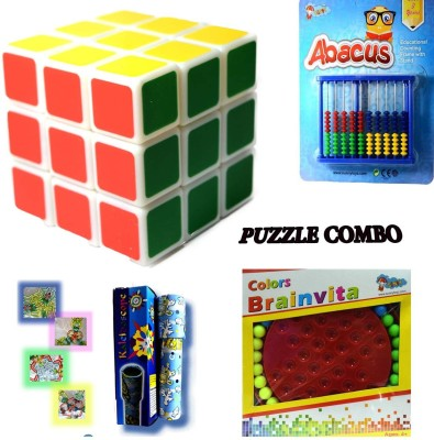 Sunny 3*3 Magic Cube,Abacus,Colour Brainvita And Mini Kailesdoscope