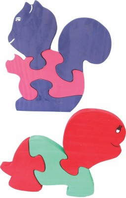 Enigmatic Woodworks Wooden Jigsaw Puzzle Baby Squirrel + Baby Tortoise