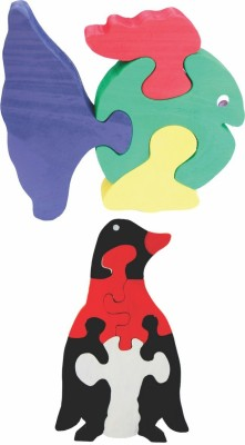 Enigmatic Woodworks Wooden Jigsaw Puzzle Curvy Fish + Penguin