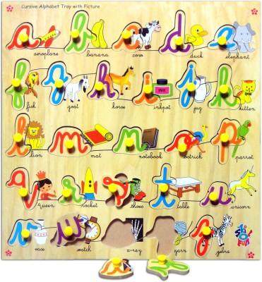 Skillofun Skillofun Cursive Alphabet Tray with Picture (Knobs)