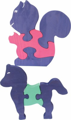 Enigmatic Woodworks Wooden Jigsaw Puzzle Baby Squirrel + Horse
