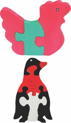 Enigmatic Woodworks Wooden Jigsaw Puzzle Hen + Penguin
