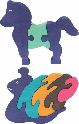 Enigmatic Woodworks Wooden Jigsaw Puzzle Horse + Pony Snail