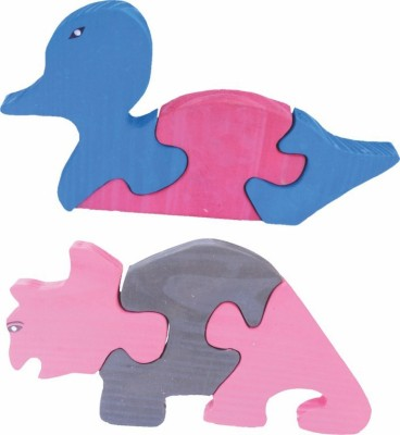 Enigmatic Woodworks Wooden Jigsaw Puzzle Duck + Rhinoceros