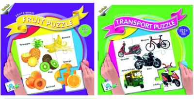 Ratnas Pack Of 2 -Educational Fruit &Transport Puzzle
