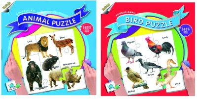 Ratnas Pack Of 2- Educational Animal &Bird Puzzle