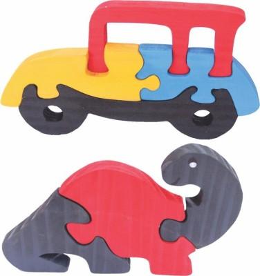 Enigmatic Woodworks Wooden Jigsaw Puzzle Car + Dinosaur (CN)