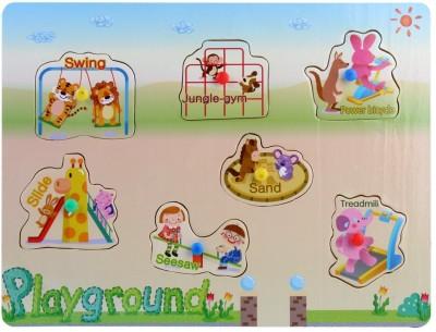 Pigloo Wooden Knob Peg Puzzle - Playground Theme