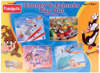 Funskool Looney And Friends Day Out 4-In-1 Puzzle Game