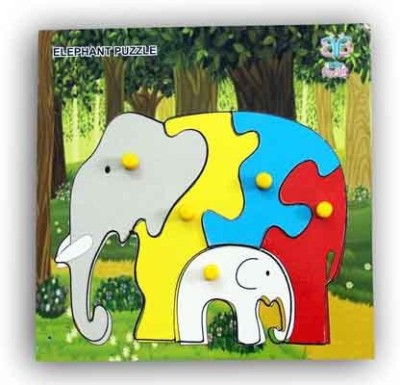 Luk Luck Educational Wooden Toy Elephant Colours