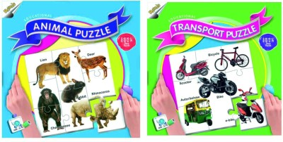 Ratnas Pack Of 2 - Educational Animal & Transport Puzzle