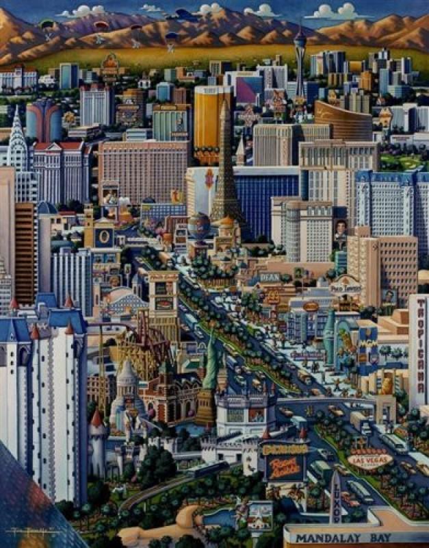 Dowdle Folk Art Puzzle - Las Vegas 500 Pc