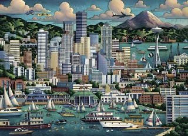 Dowdle Folk Art Puzzle - Seattle 500 Pc