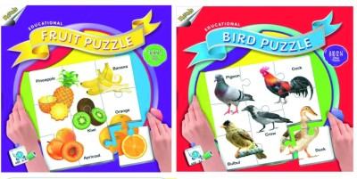 Ratnas Pack Of 2 -Educational Fruit And Bird Puzzle