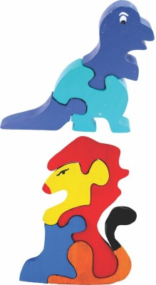 Enigmatic Woodworks Wooden Jigsaw Puzzle Dinosaur + Lion